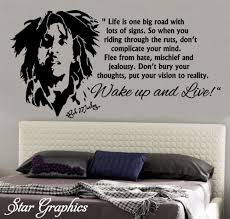 Bob Marley Wake Up And Live Famous Wall Art Quote Vinyl Decal Sticker Transfer Mural Home Decor Diy Bob Marley Vinyl Lettering Wall Art Quotes