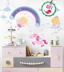Unicorn Baby Girl Room Decor Fairy Wall Stickers Childrens For Bedroom Nursery Playroom With Free Gift Unicorn Rainbow Shop