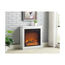 white electric fireplace mantel heater
