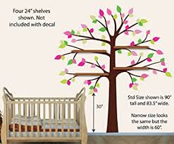 Amazon Com Girls Room Wall Decals Shelf Tree Wall Decal Pink And Green Fabric Tree Baby