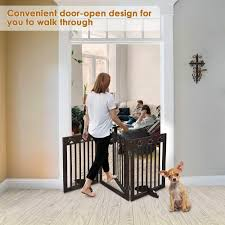 Adjustable Wood Fence Baby Safety Tall Wooden Pet Gate Fence Folding 3 4 Panels 4 Panels 60cm Height 24 Inch Indoor Puppy Gate Durable Yulie Dog Gate