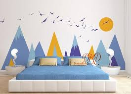 Mountains Decals For Kids Room Mountain Sticker For Nursery Mountain Mural Mountain Wall Decal Mountain Decal Set With Sun Birds Dk326 Description This B