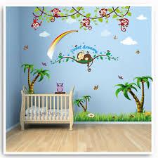 Monkey Wall Stickers Animal Owl Jungle Rainbow Nursery Baby Kids Room Decal Art Ebay