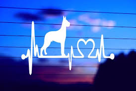Great Dane Heartbeat Car Decal Sticker