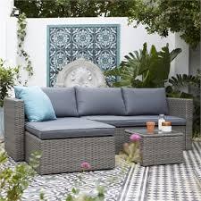 3 seater corner garden sofa set in grey