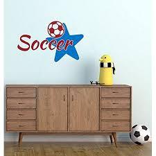 Bedroom Decor Soccer With Star Sports Vinyl Wall Decals 23x14 Inch Red Traffic Blue Walmart Com Walmart Com