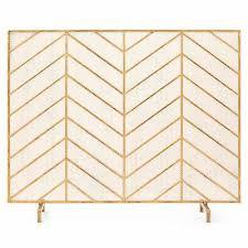 single panel iron chevron fireplace screen