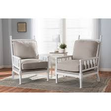 Hillary Wood Spindle-Back Accent Chair - White and Beige Cushion (Set of 2)  | DCG Stores