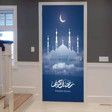 Muslim Arabic Salute Removable Wall Decal Home Decoration Islamic Character Door Sticker Respectable Quotes Door Stickers Aliexpress