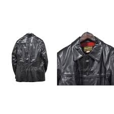kindal buco leather coat black size