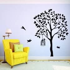 Black And White Family Tree Wall Decal Big Sticker Silhouette Design Nursery Palm Large Vamosrayos