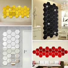 12pcs 3d Mirror Hexagon Vinyl Removable Wall Sticker Decal Home Decor Art Diypj Decor Decals Stickers Vinyl Art Home Garden Map India Org