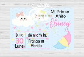 Invitacion Tarjeta Cumpleanos Lluvia De Amor X 10 Unid