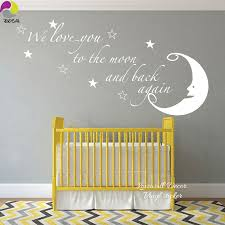 We Love You To The Moon And Back Again Quote Wall Sticker Moon Star Saying Quote Wall Decal Baby Nursery Kids Room Vinyl Decor Wall Sticker Moon Quote Wall Decalwall Sticker Aliexpress