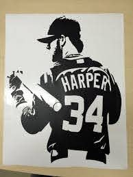 Bryce Harper Wall Decal Nationals Basesball Nats Free Etsy