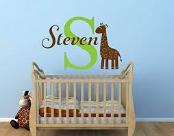 Amazon Com Byron Hoyle Giraffe Name Wall Decal Safari Wall Decal Personalized Name Decal Giraffe Nursery Decor Childrens Name Vinyl Wall Decal Giraffe Decal Home Kitchen