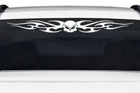 Sticky Creations Design 116 02 Skull Tribal Flame Windshield Decal Sticker Vinyl Graphic Rear Window Banner Tailgate Car Windshield Cars Trucks Boat Trailer