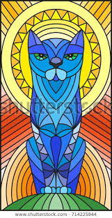 stained glass style abstract blue