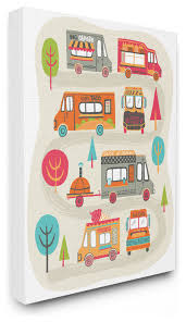 Mod Illustration Quirky Food Trucks And Trees Canvas Contemporary Kids Wall Decor By Stupell Industries