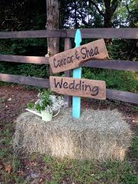 Rustic Wedding Sign Barn Wood On Picket Fence Slat In Hay Bale Laser Engraved To Order Email Engrave9 Gmail Com Eng Barn Signs Rustic Wedding Signs Wedding
