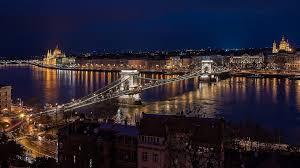night budapest bridge city wallpaper