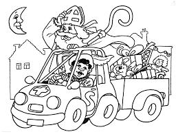 Kleurplaat Sinterklaas Sint Sinterklaas In De Auto