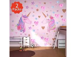 2 Pack Unicorn Wall Stickers Removable Unicorn Wall Decals With Hearts Amp Stars Reflective Unicorn Wall Decor Stickers For Birthday Partykids Bedroom Baby Nursery Room 2sticker Newegg Com