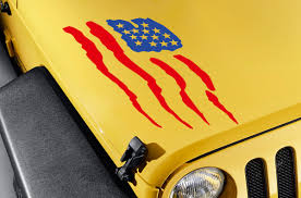 Buy Hood Usa American Flag Stars Stripes Truck Tj Cj Jk Lj Vinyl Sticker Decal