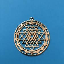 sri yantra gold plated hollow pendant