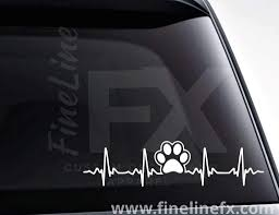Dog Paw Print Ekg Heartbeat Viny Decal Sticker