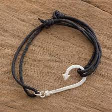 sterling silver fish hook pendant