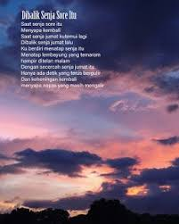a poem a night dibalik senja sore itu puisi sajak