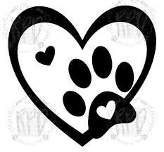 Heart Paw Vinyl Dog Vinyl Decal Car Vinyl Heart Decal Etsy