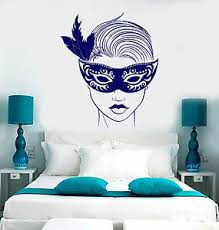 Vinyl Wall Decal Beautiful Face Girl In Mask Woman Carnival Lips Stickers 1501ig Ebay