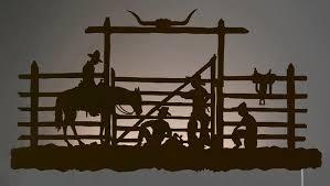 Cowboy Corral Back Lit Wall Art Rust