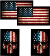 American Flag Skull Flag Hardhat Helmet Stickers 4 Decal Value Pack Great For Motorcycle