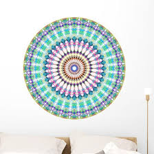 Geometric Blue Green Mandala Wall Decal Wallmonkeys Com
