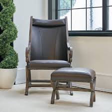 brown faux leather accent chair and