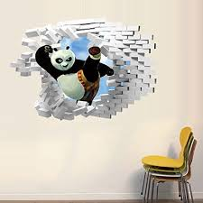 Oderin Art Cute 3d Products Wall Decal Kung Fu Panda Mural Removable Wall Stickers For Kids Children Room Home Wall Decor 0 Panda Things