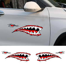 1 Pair Shark Teeth Mouth Decals Sticker Fishing Boat Canoe Car Truck Kayak Decor Shark Teeth Design Waterproof Car Boat Decor Car Stickers Aliexpress