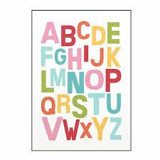 Colorful Cute Rainbow Alphabet Nursery Abc Posters Fine Art Canvas Pri Nordicwallart Com