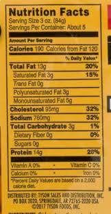 tyson buffalo wings food label images