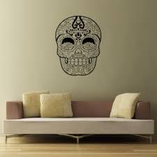 Sugar Skull Wall Decal Removable Vinyl Wall Art Halloween Simple Stencils