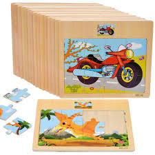 6x wooden jigsaw puzzles chunky