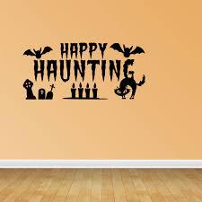 Wall Decal Quote Halloween Scene Halloween Decal Happy Haunting With Bats Wall Decal Jp669 Walmart Com Walmart Com