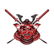 Samurai Mask Vinyl Decal Full Color Samurai Decal Sticker Etsy