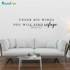 Under His Wings You Will Find Refuge Quote Wall Decal Christian Devout Sticker Vinyl Wallpaper Ba588 Wall Stickers Aliexpress