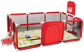 Children S Play Fence Portable Child Playpen Rectangle Toddlers Play Yard With Door Activity Center Child Play Game Fence Anti Fall Play Pen Safe And Secure Color Red Amazon Ca Home Kitchen