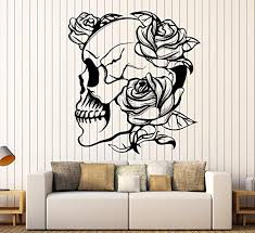 Amazon Com Designtorefine Vinyl Wall Decal Skull Roses Gothic Style Flowers Horror Stickers Large Decor 977ig Purple Home Kitchen