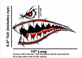 Motorcycle Flying Tiger Shark Ww P 40 Fighter Teeth Vinyl Decal Sticker Set Red Ebay